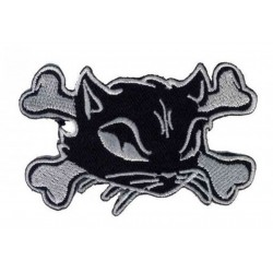 patch chat pirate noir blanc 13x8cm ecusson thermocollant fan rock roll rockabilly