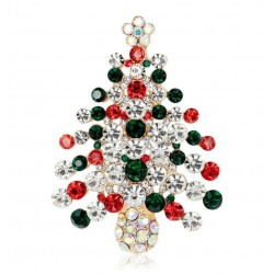 broche grand sapin de noel strass blanc 6x4 cm femme pin up retro