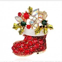 broche botte de noel rouge et strass 4x3 cm femme pin up retro