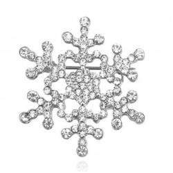 broche flocon de neige strass blanc 4 cm femme pin up retro