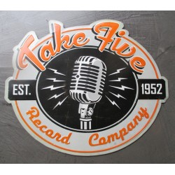 plaque take five record company 40x34cm tole embouti aspect vieillit  pub