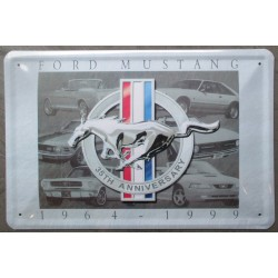 plaque for mustang grise 35th bombé 30x20cm deco garage usa