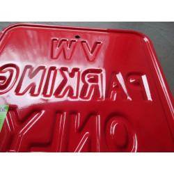 plaque vw parking only embouti couleur rouge 30x30cm tole deco garage metal
