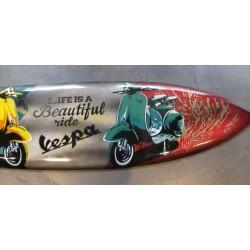 grande planche de surf bois peint 2 scooter vespa jaune vert 100cm déco