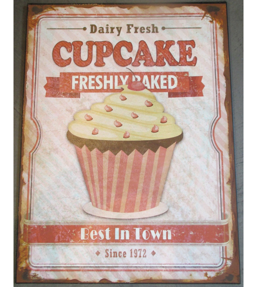 plaque cupcake vieillit freshly baked deco cuisine bar