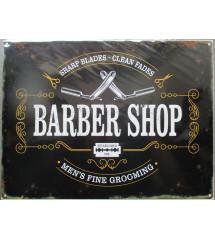 plaque barber shop tole  deco barbier rasoir 40x30