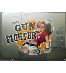 plaque style bombardier pin up  the gun fighter tole  40x30cm metal