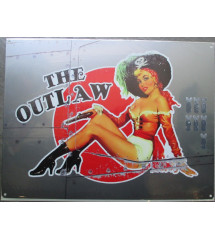 plaque style bombardier pin up  the outlaw tole  40x30cm metal