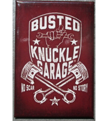 magnet 8x5.5 cm busted knuckle pistons croisés deco garage cuisine bar diner loft frigo