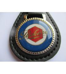 Porte Cle Metal Cuir Packard Logo Bleu Et Rouge Auto Voiture