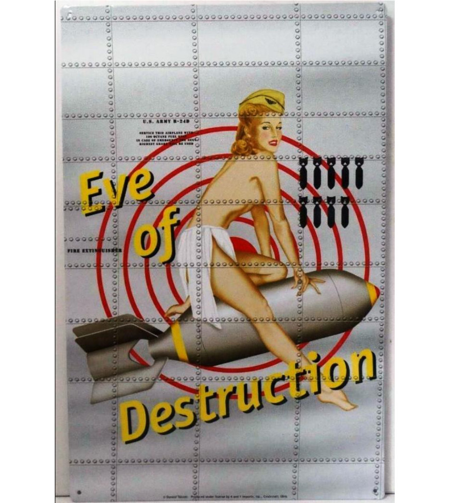 tole pin up eve of destruction nose bombardier sign