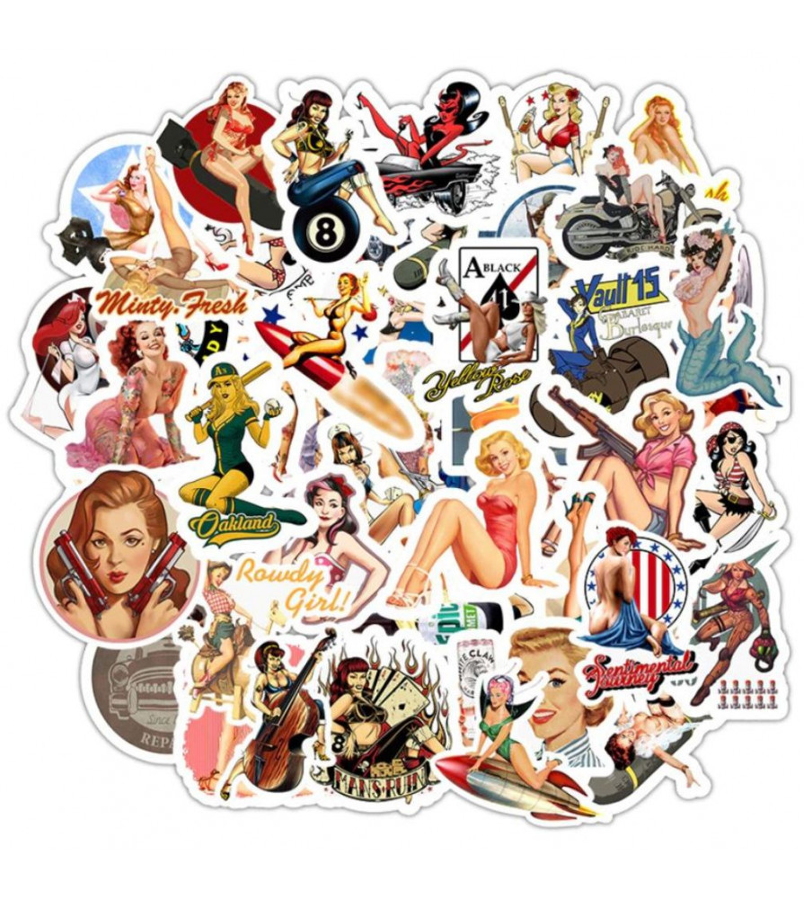 lot de 50 stickers pin up rock roll , militaire , diablesse