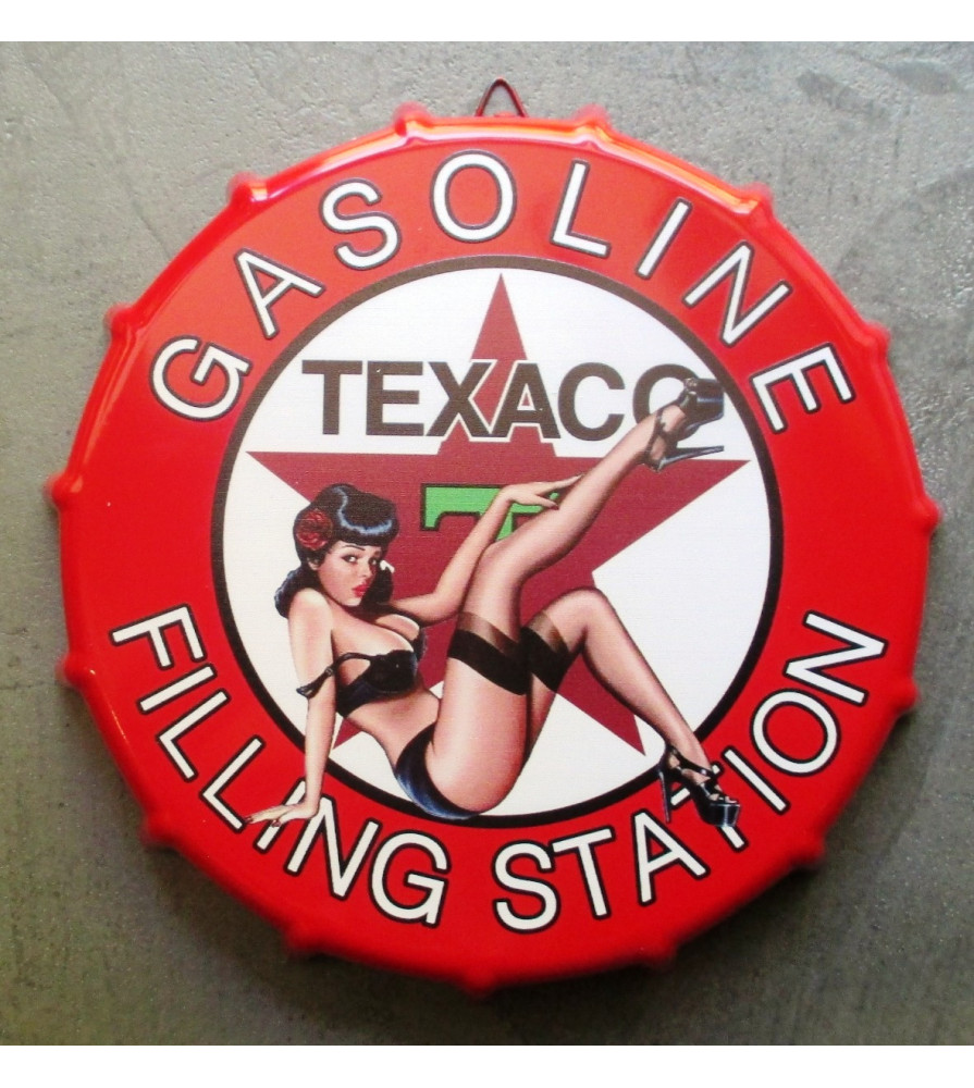 plaque capsule texaco pin up filling station