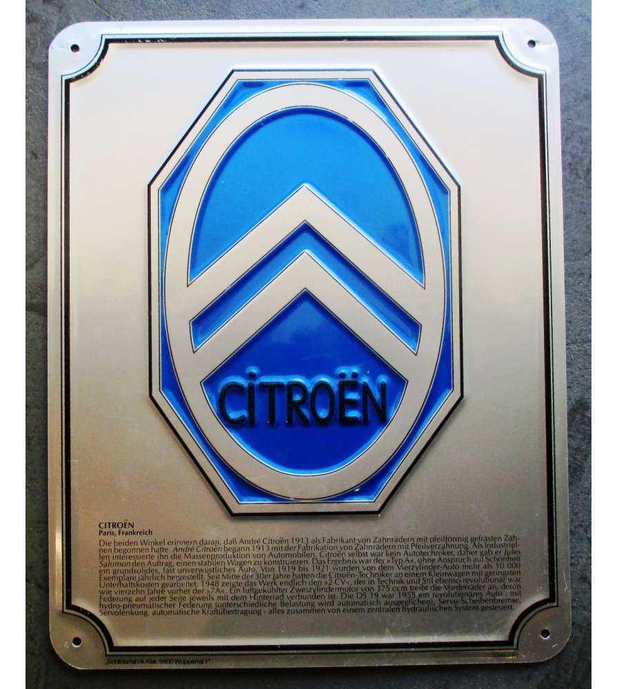 plaque citroen bleu inscription en allemand
