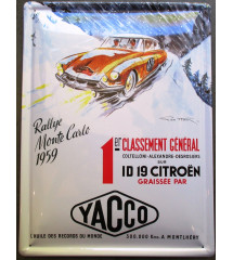 plaque rallye de monte carlo 1959 , citroen id19 , yacco