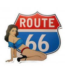 sticker pin up route 66 blason