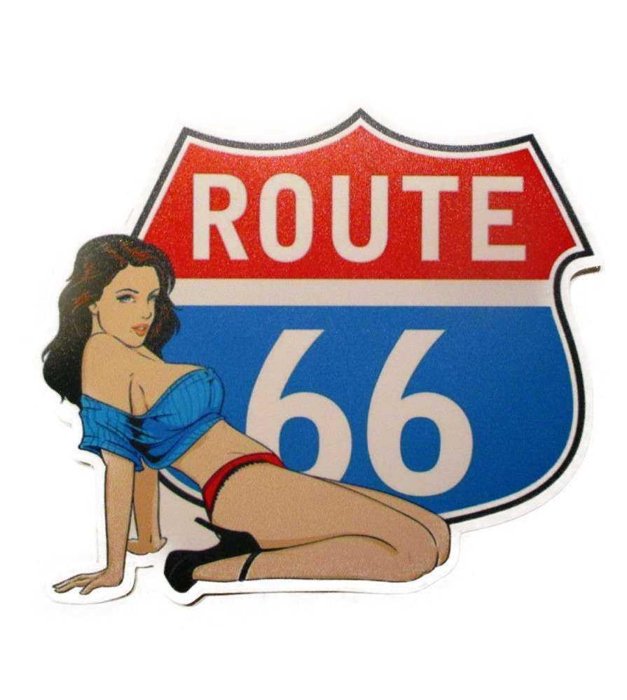 sticker pin up route 66 blason