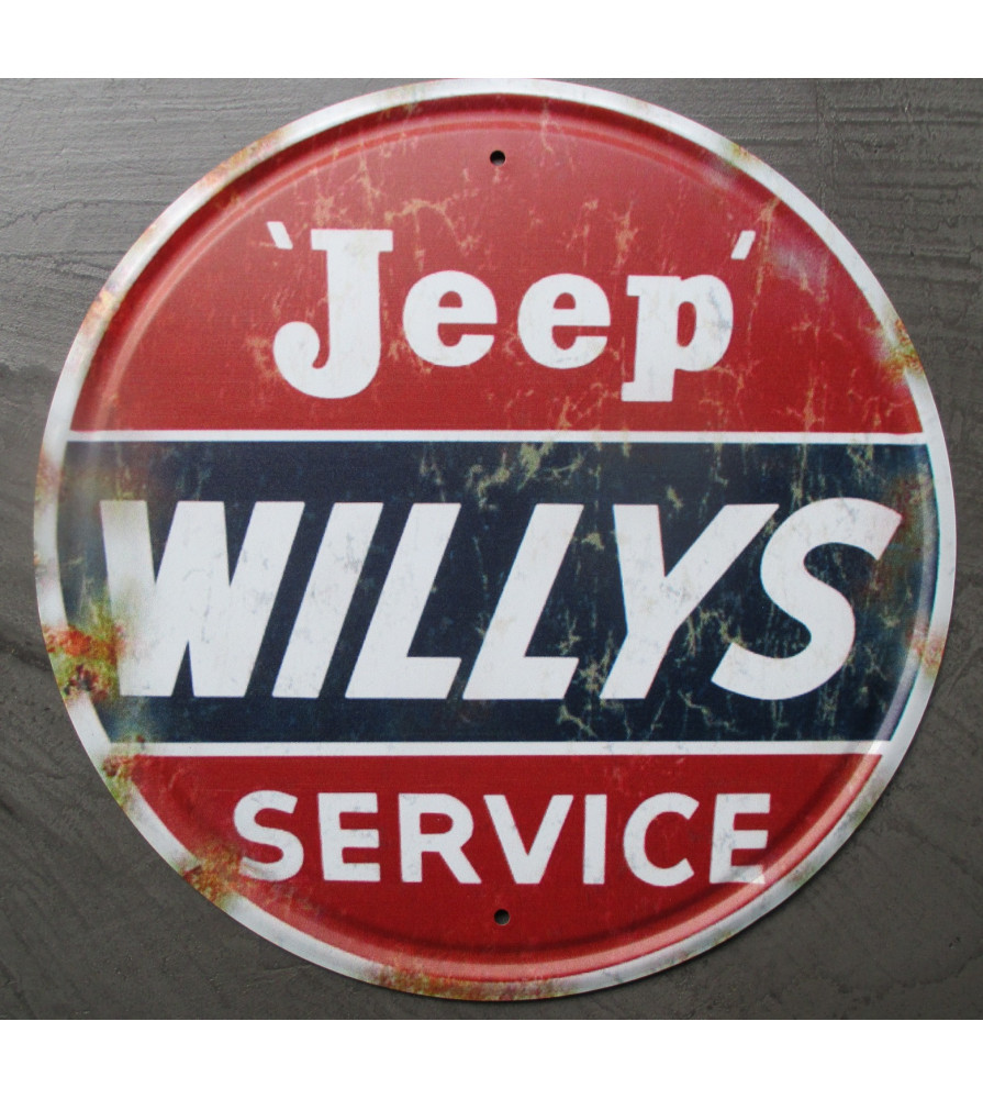 plaque jeep willys service a l'aspect vieillit