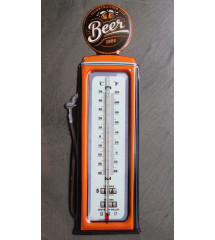 thermometre pompe a essence beer orange et blanc