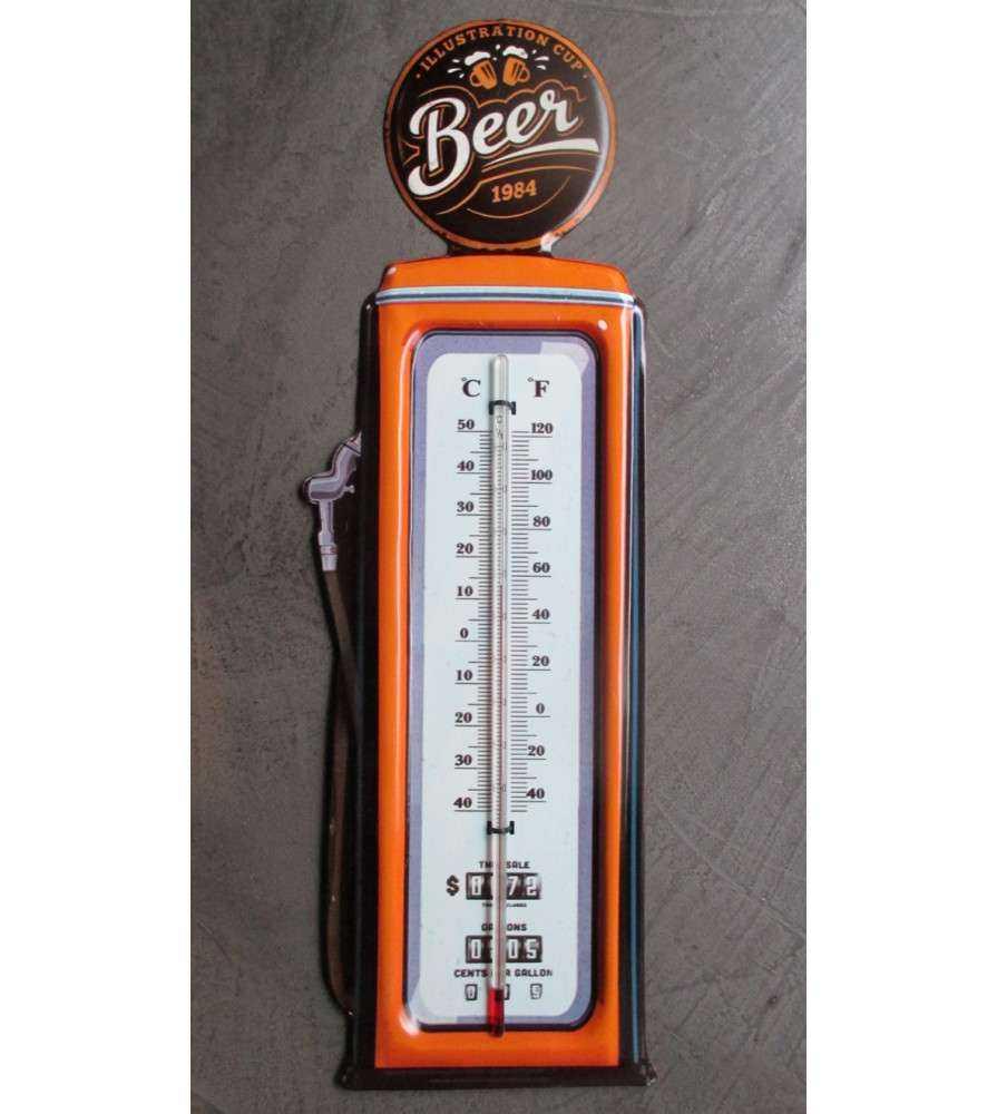 thermometre pompe a essence beer orange et blanc