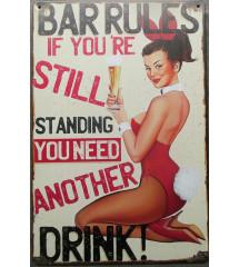 plaque bar rules 30cm avec...