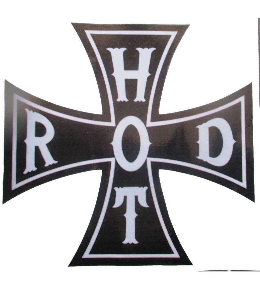 sticker croix de malte noir et blanche , inscription hot rod .