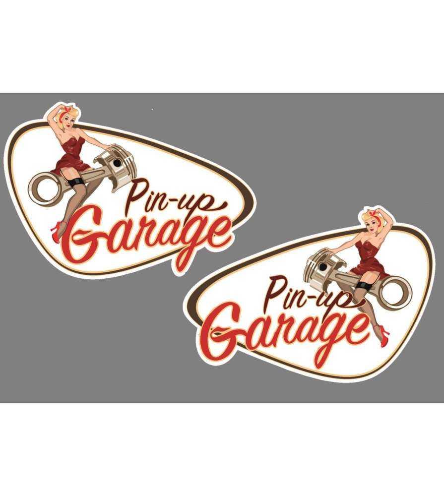 2 stickers pin up garage de 10x7 cm.