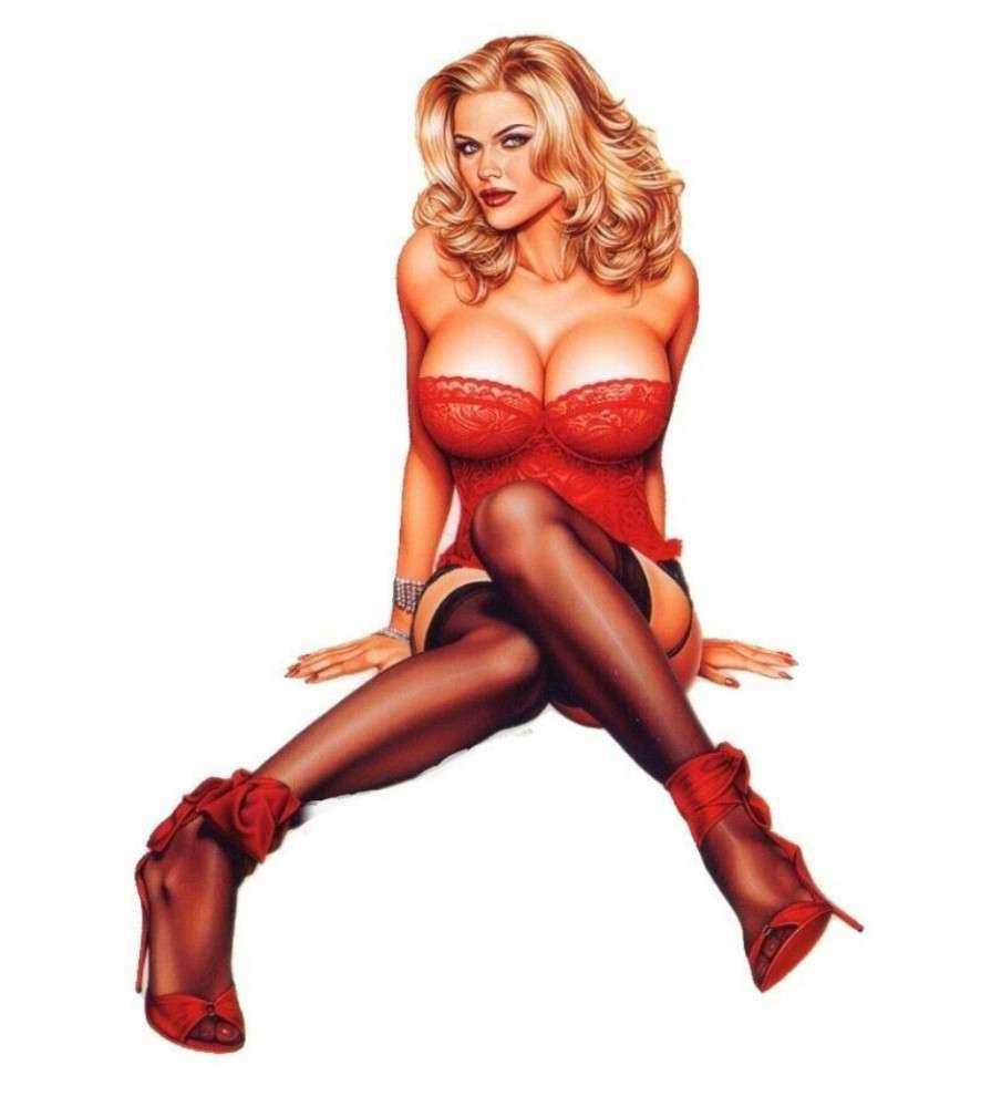 sticker pin up blonde en sous vêtement rouge .