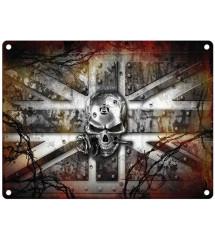 plaque crane et drapeau anglais , alchemy , 40x30cm
