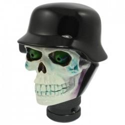levier de vitesse crane casque militaire noir tete de mort