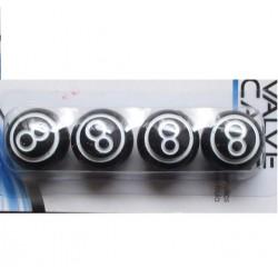 bouchon valve de roue (x4) 8 ball noir auto moto billard