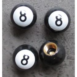 bouchon valve de roue (x4) 8 ball blanc auto moto billard