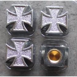 bouchon valve de roue (x4) croix malte chrome auto moto velo