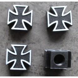 bouchon valve de roue (x4) croix malte noir auto moto velo