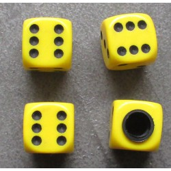 bouchon valve de roue (x4) de jaune auto moto velo