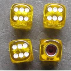 bouchon valve de roue (x4) de jaune transparent auto moto