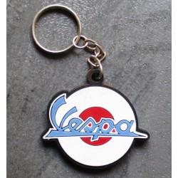 porte clé vespa logo blanc et bleu plastique souple scooter