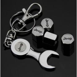 bouchon valve de roue (x4)+ porte cle jeep logo blanc