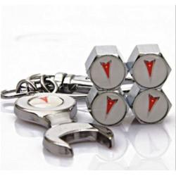 bouchon valve de roue + porte cle pontiac auto logo blanc