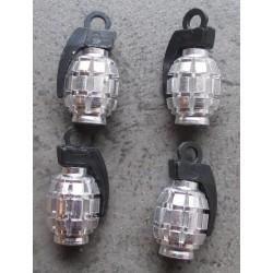 bouchon valve de roue (x4) grenade chrome auto moto velo