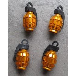 bouchon valve de roue (x4) grenade dore auto moto velo