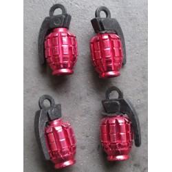 bouchon valve de roue (x4) grenade rouge auto moto velo