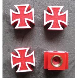 bouchon valve de roue (x4) croix malte rouge auto moto velo
