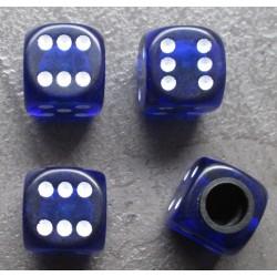 bouchon valve de roue (x4) de bleu transparent auto moto