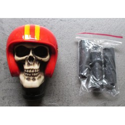 levier de vitesse crane casque moto rouge biker pommeau