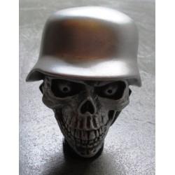 levier de vitesse crane casque militaire gris pommeau  auto