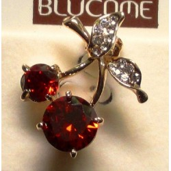 broche cerise strass rouge blanc  pin up rockabilly retro