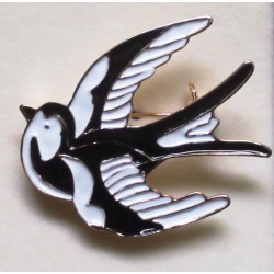 broche hirondelle rockabilly noir idéal pin up retro vintage