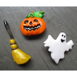lot de 3 broches halloween citrouille fantome balais sorcier