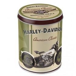 boite metal harley davidson beige verte american classic
